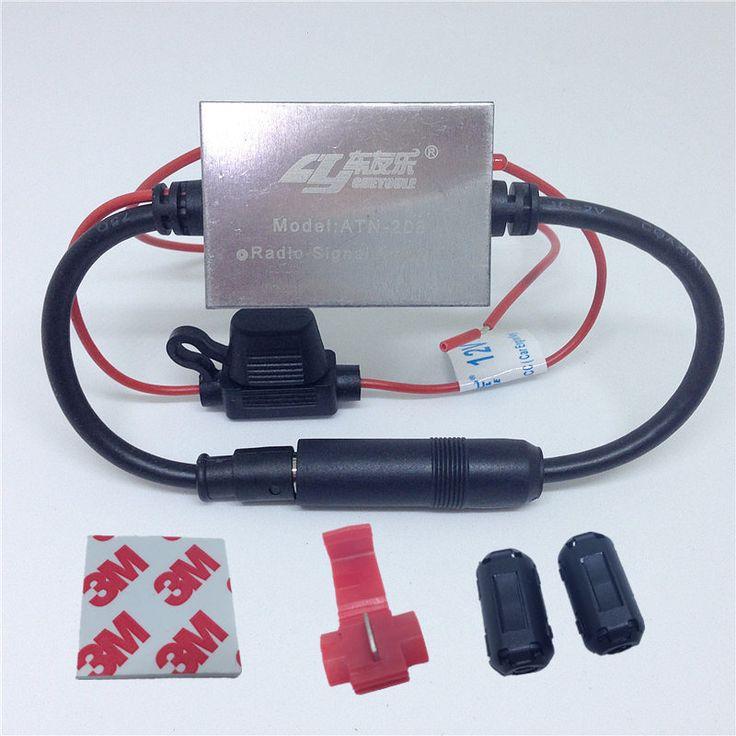 Antena de Coche Radio FM Amplificador De Señal de Metal Anti-interferencias Auto Universal FM Amplificador de Refuerzo 88-108 Mhz 12 V