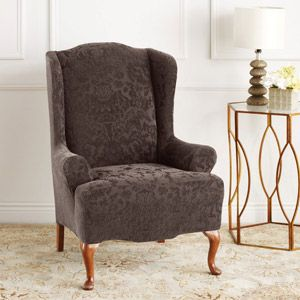 Sectional Sleeper Sofa Sure Fit Stretch Jacquard Damask Wing Chair Slipcover