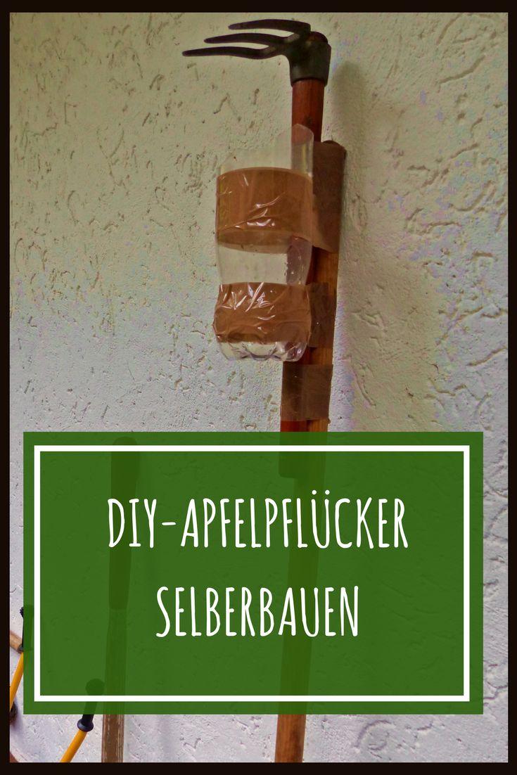 So baust du einen DIY-Apfelpflücker aus einer Gartenhacke, einem Stab selber. #apfelernte #apfel #diy #diyproject #diycrafts #selbstgemacht