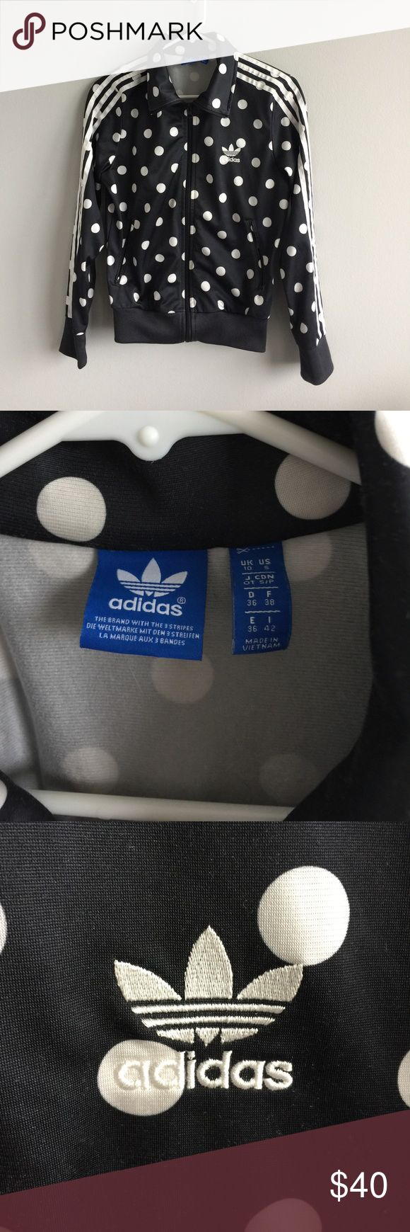 Adidas polka dot sweater Used and in good condition. Adidas polka dot zip up sweater adidas Sweaters