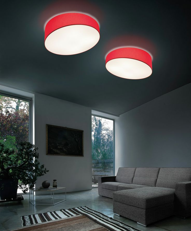 Pank ceiling in red diffusing fabric with down side white cover. Good for residential and offices.