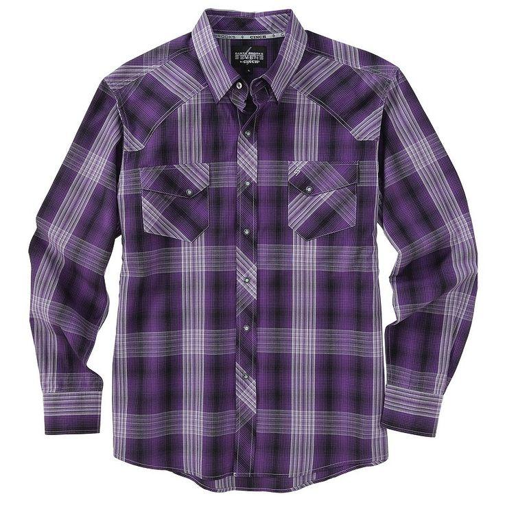 Garth Brooks Sevens by Cinch Purple Plaid Stripe Shirt - Keddies