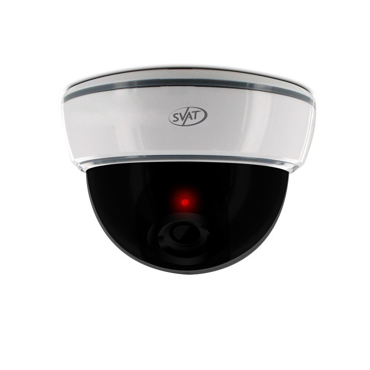 SVAT ISC301 Imitation Dome Security Camera with Realistic Flashing Red LED--All-in-one Deterrent Camera - The ISC301 imitation security camera is an easy way to deter intruders or vandals and make your property appear to have a robust security system. The ABS plastic housing make it look like a real, functioning camera. This camera can also be used in combination with a functioning security system to heighten the effectiveness.