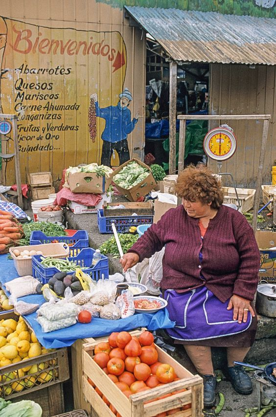 Puerto Montt (Lake District), Chile Woman cooking her meal at the Angelmo market, in the lakes region of southern Chile. © Roberto Soncin Gerometta 2003