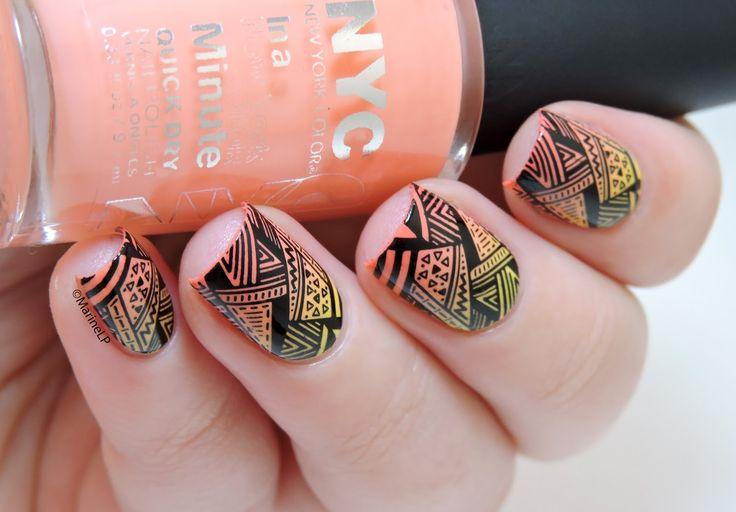 Coucher de soleil chez les Aztèques - sunset gradient - stamping - BM-603 Bundle Monster - aztec nails