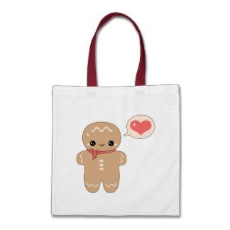 Kawaii Gingerbread Man Tote Bags