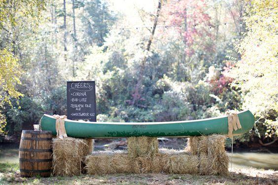 rustic canoe wedding barhttp://www.deerpearlflowers.com/rustic-canoe-wedding-ideas/