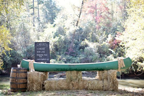rustic canoe wedding barhttp://www.deerpearlflowers.com/rustic-canoe-wedding-ideas/