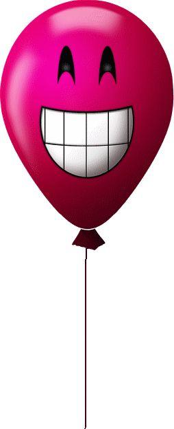 CP - ballon rose heureux - smiley émoticône clipart cartoon - téléchargement gratuit et sans inscription