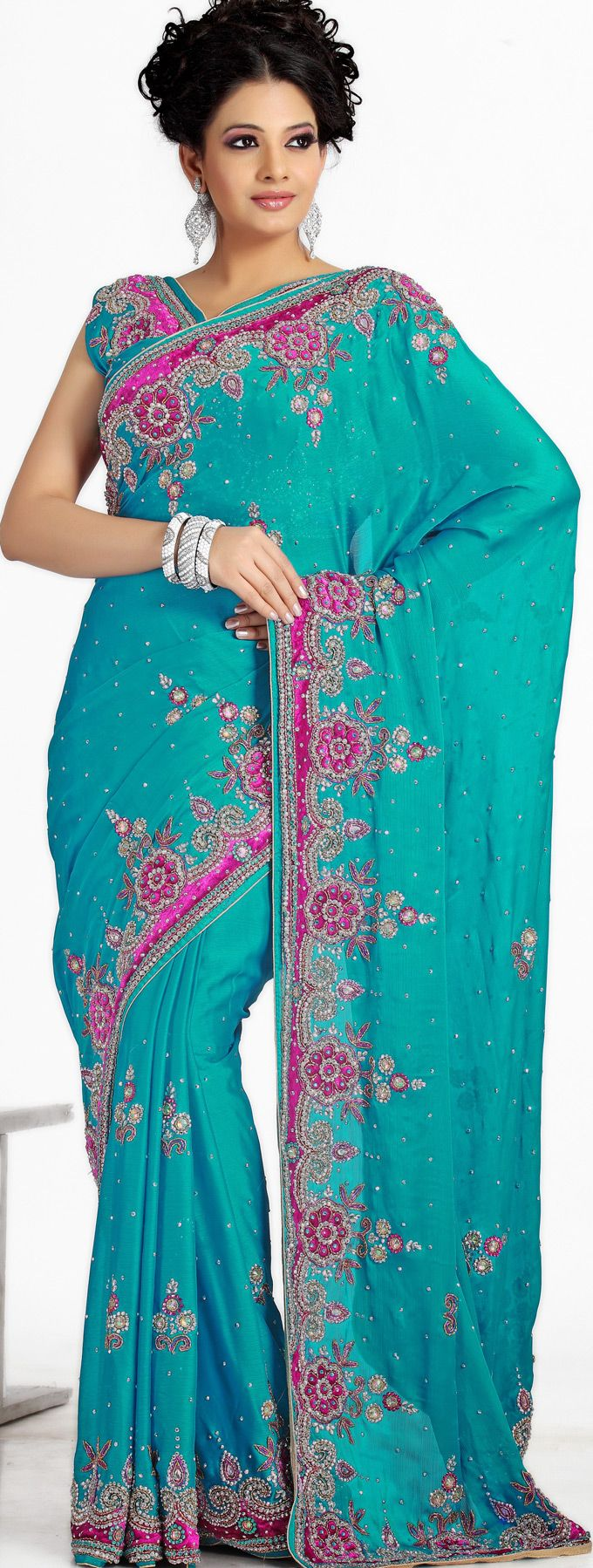 Dodger Blue Chiffon #Indian #Wedding #Saree | @ $264.33