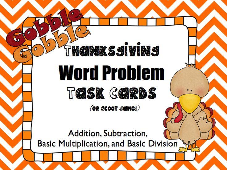 Freebie Thanksgiving Word Problem Task Cards FREEBIE
