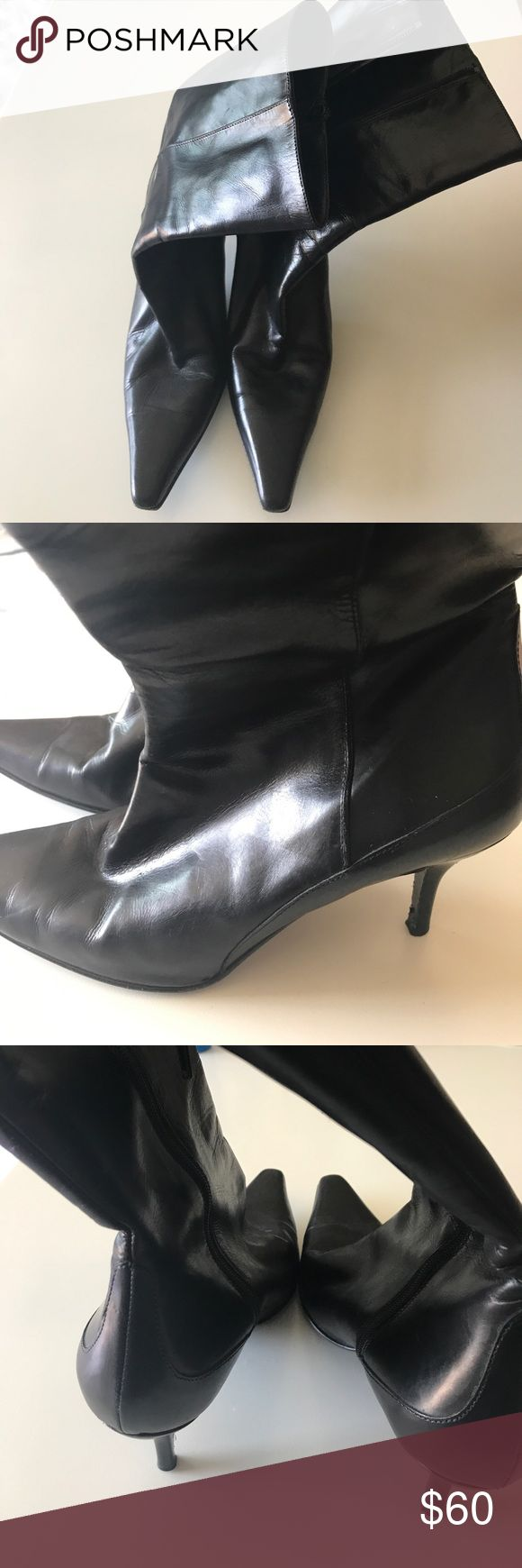 Cole Haan Boots 9.5 🌸 Black soft leather Cole Haan boots. Made in Italy. Heel is little more than 2.5 inches. Length of boot comes about four inches above the ankles. Inner zipper. Has few scuffs around toe of the shoe. Great condition otherwise 💁🏼 Cole Haan Shoes Heeled Boots