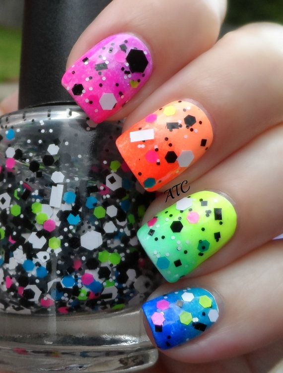 Awesome glitter neon nails.