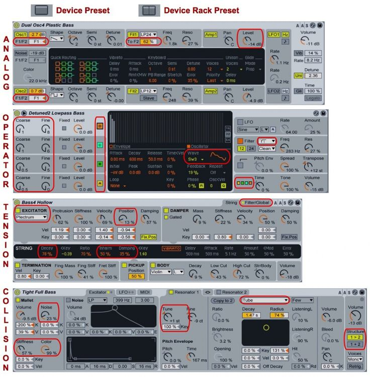 Live: Synth Bass. Ableton Live Tips & Techniques. 1: These are the bass presets for Analog, Operator, Tension and Collision, as described in the text. Live is more than capable when it comes to bass. We give you an overview... Live Suite offers many tools to create synthesized basses. This month we'll dissect some of Live's bass instrument presets and racks for tips on how to build your own and then expand on these ideas.