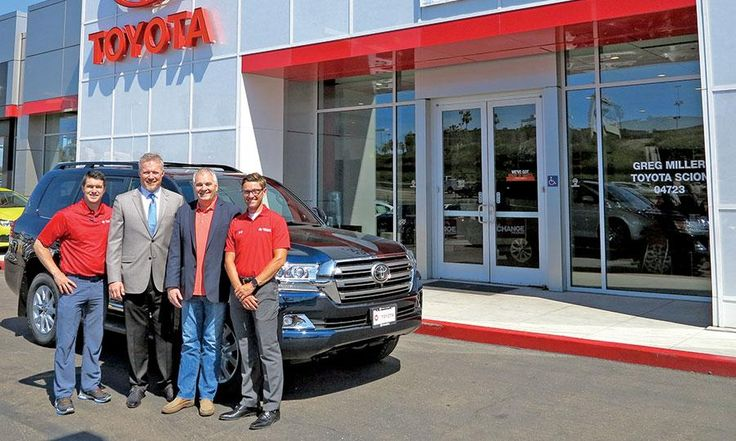 The first vehicle delivered at Greg Miller Toyota in Lemon Grove, Calif., is a 2016 Toyota Land Cruiser. From left are sales manager Tyler Wardle, dealer Greg Miller, Land Cruiser buyer Corby Dall and sales manager Jason Hawks. Wardle and Hawks are Greg Miller's sons-in-law.