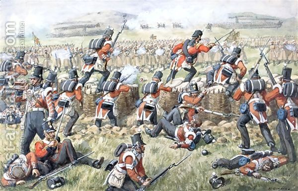 Richard Simkin:The 23rd Regiment Royal Welsh Fusiliers at the Battle of the Alma.