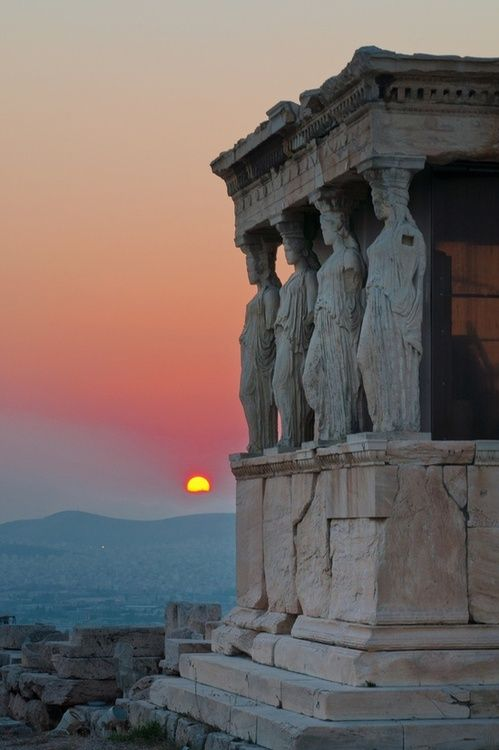 The Porch of the Caryatids from the Erectheion, at the Acropolis in Athens, Greece.