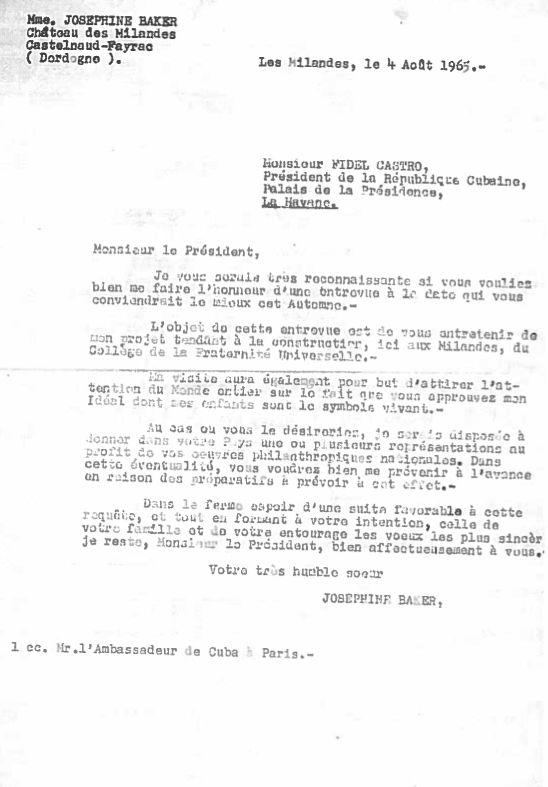 Lettre de Josephine Baker à Fidel Castro : « L'objet de cette entrevue est de vous entretenir de mon projet tendant à la construction du Collège de la Fraternité Universelle. »