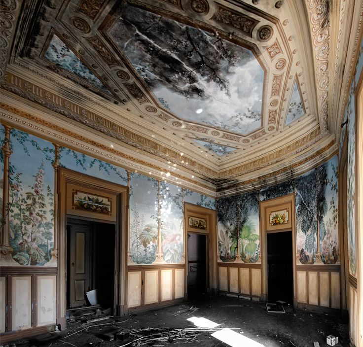 Palace of Fonte da Pipa - abandoned, late 19th century estate.  After a trip to Northern Europe, portuguese politician Marçal de Azevedo Pacheco, ordered its construction in 1875. The beautiful decorative paintings, that we can still see today, were created by Pereira Cão, a portuguese painter who had worked for King Luís I of Portugal..Loulé, Portugal © 2013 Gastão de Brito e Silva - Imgur