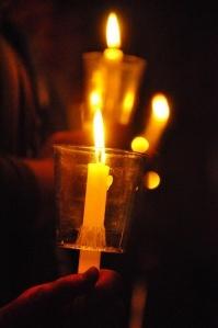 The Easter Vigil. April 19, 2014-- The faithful keep the vigil awaiting the proclamation of Christ's resurrection.