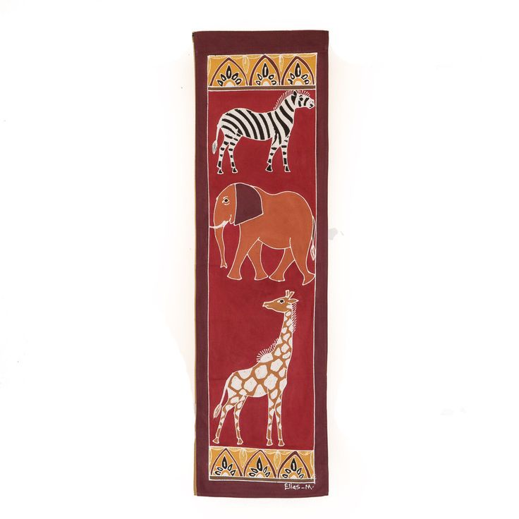 Wall Hangings ~ Various Safari Animal Designs Small Rectangle $35.00 USD Multi-purpose wall hanging depicting Zambia's rich wildlife heritage, against background of deep red. Hemmed all around with full-width pocket along top edge for hanging pole. Can also be used as a Tablecloth or throw.