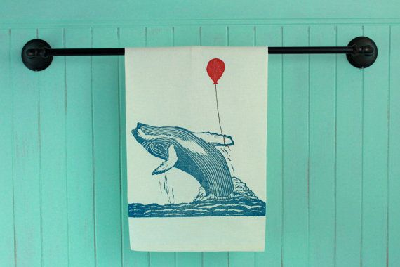 Hump Back Whale With Balloon Tea Towel, Block Printed in Blue