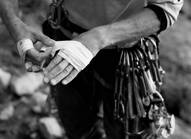 Taping up Before a Crack Climb by GoneBush, via Flickr