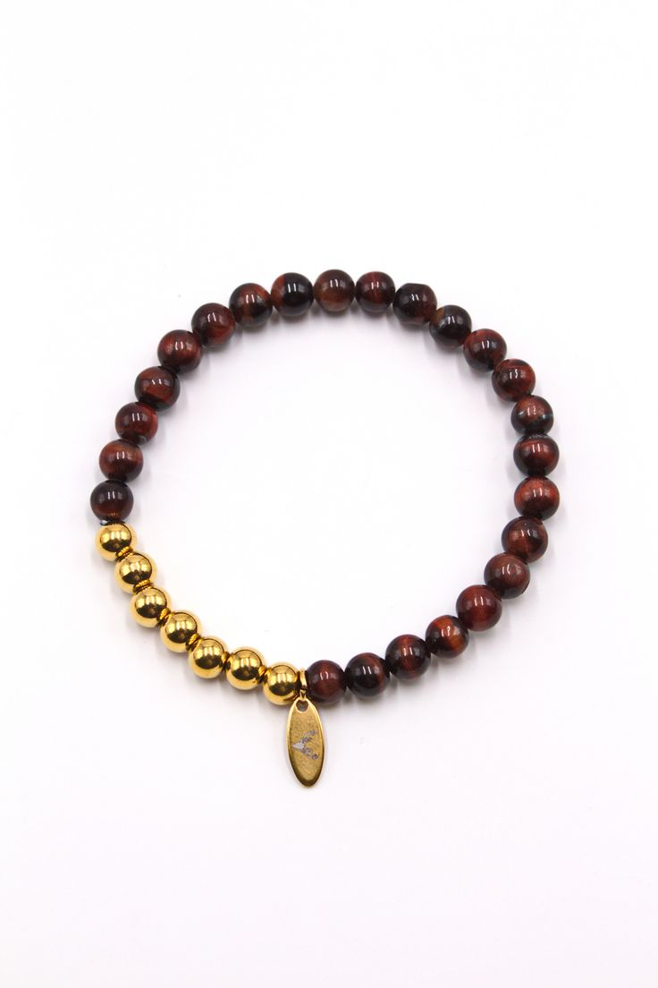 Men's Beaded Bracelet Red Tiger Eye & Gold Stainless Steel 8mm Hang Charm