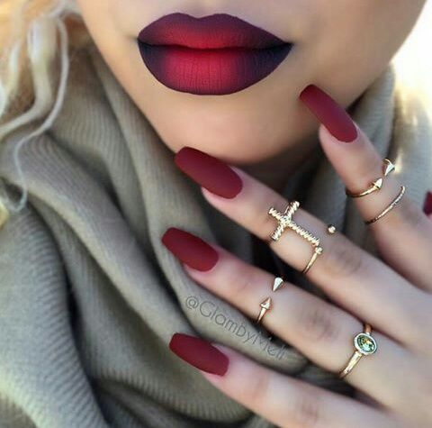 Image de nails, red, and lips