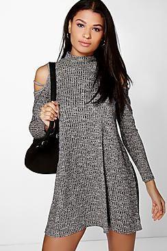 Katie Strappy Cold Shoulder Swing Dress