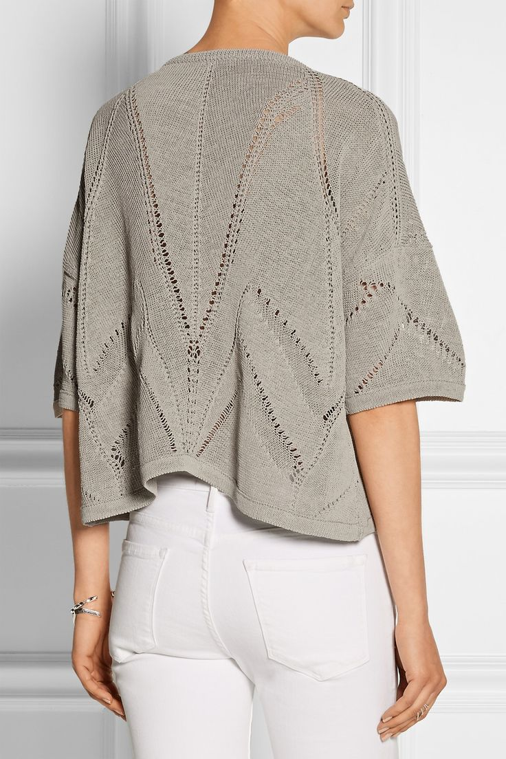 Helmut Lang | Cropped knitted linen-blend sweater | NET-A-PORTER.COM