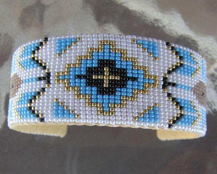 Ручная работа красивая вышитая навахо индийский браслет отличный узор с латунной Джон