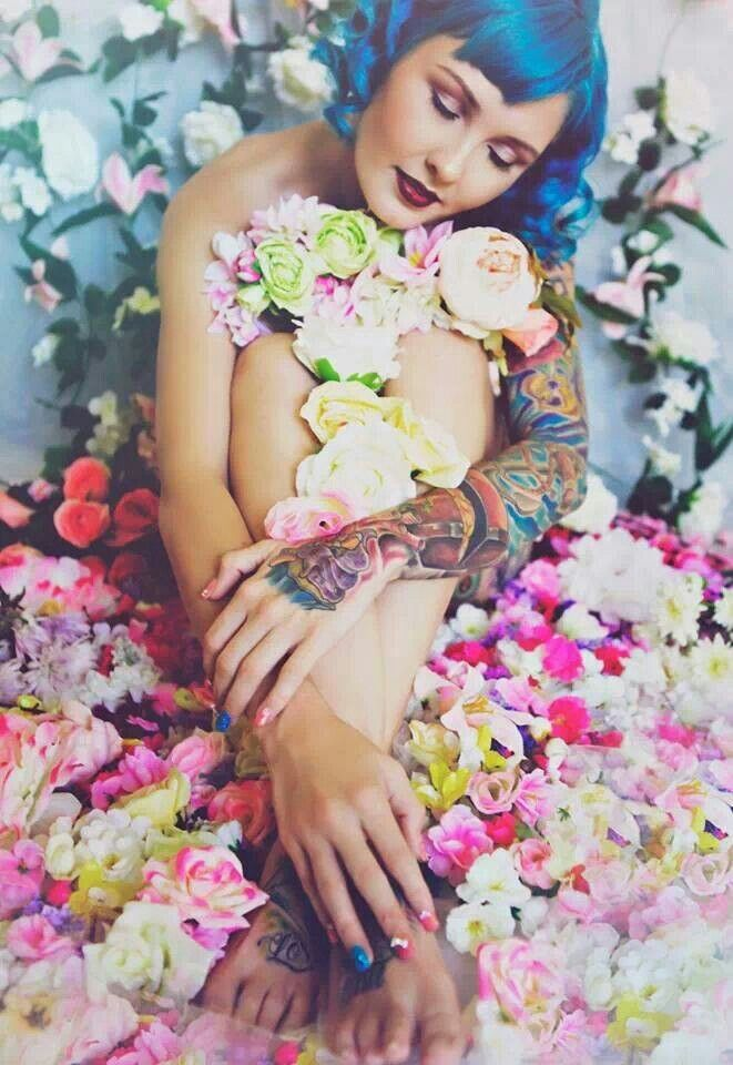 Flowers love Photography by Michelle Fleur make up by @Rita Makhzoum tattooed model posing