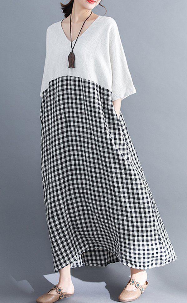 Women loose fit pocket dress checkered tunic short sleeve large size pregnant #U…