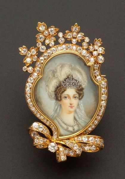 Antique 18kt Gold, Portrait Miniature, and Diamond Pendant/Brooch, Tiffany & Co.