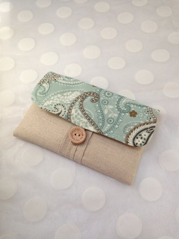 iphone case - smart phone cover - cell phone case - gadget case - accessory case - cloth wallet - Aqua and Brown Paisley fabric