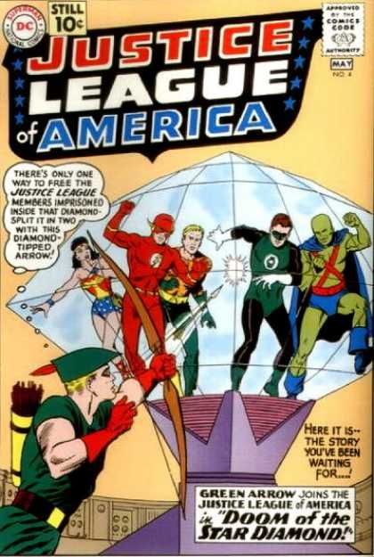 Hawkeye joins the Avengers! Not quite: Green Arrow, aka tycoon Oliver Queen who took up archery to survive on an island and took up heroing after using his talent to fight crooks on the island, joins the League.