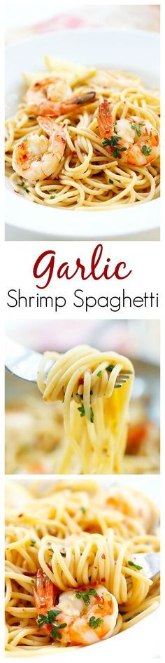 Garlic Shrimp Spaghetti – super easy and delicious spaghetti with garlic, olive oil, shrimp and red pepper flakes. Amazing dinner for the family | rasamalaysia.com | #pasta