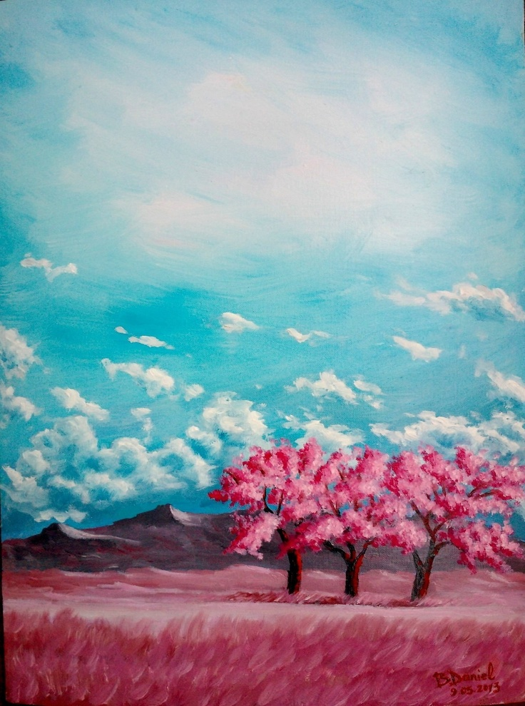 """''The Story of the Three Trees'' Pictura in culori de ulei (Deco,Combinatul Fondului Plastic), Bloc desen Telia oil A3;Tablou: lăţime 30 cm, înălţime 40 cm;-Pictura proprie semnata: Boboc Daniel """"by b.daniel""""  De vanzare 100 ron + Rama Alba sau Neagra la alegere :)"""