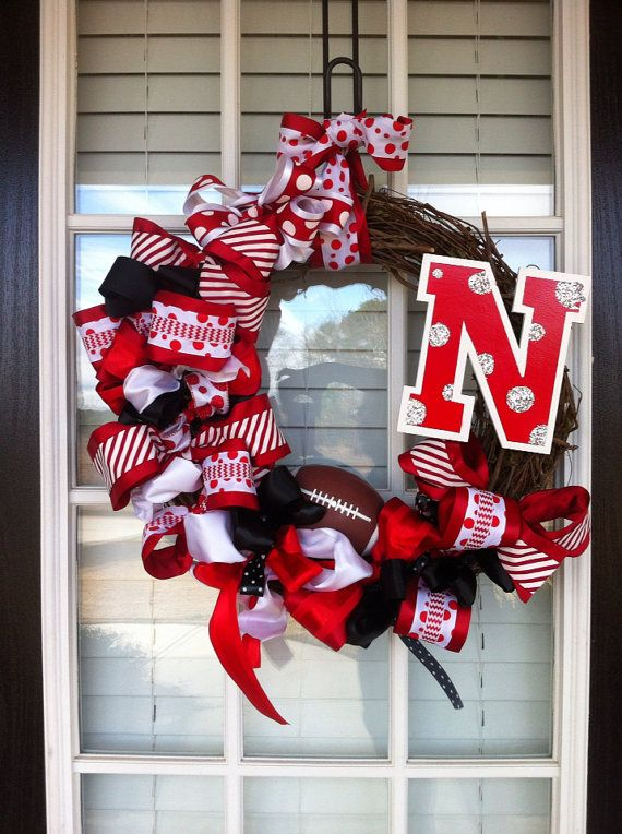 Nebraska Cornhuskers Inspired Football Wreath Personalized by TheDelaneyGallery