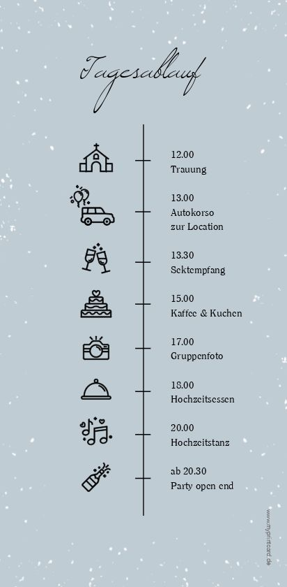 """Tagesablauf Hochzeit """"Winterhochzeit"""""""