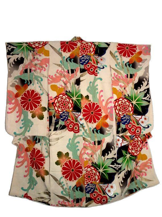 années 1920 japonais Vintage soie Kimono - petit adulte / enfants - ère Taisho - papillons