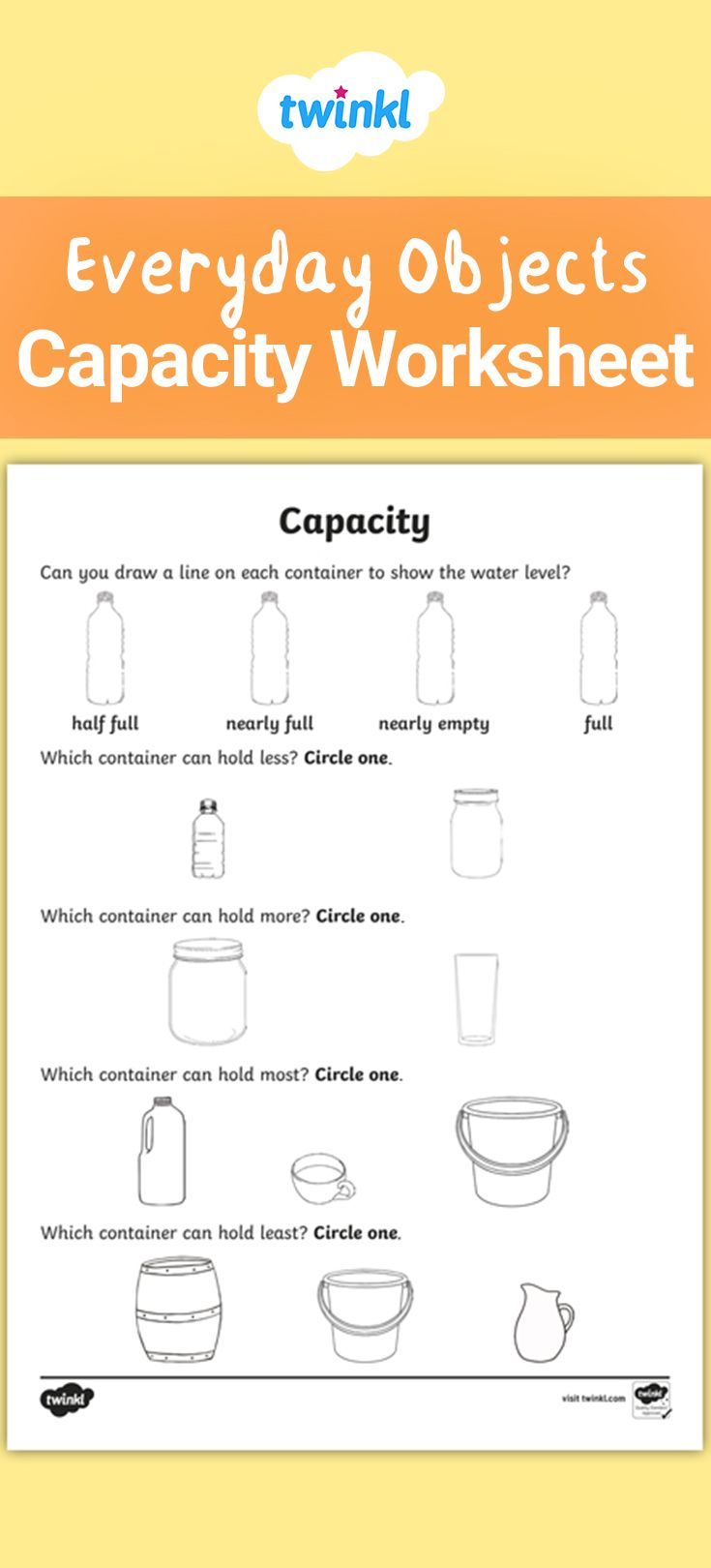 Everyday Objects Capacity And Volume Worksheet Capacity Worksheets Capacity Maths Kindergarten Worksheets [ 1620 x 735 Pixel ]