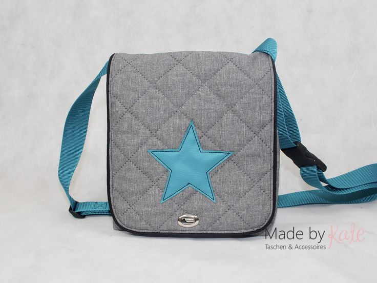 Mini Messenger Bag, graue Kuriertasche, kleine Kuriertasche, Umhängetasche, cross body, Schultertasche, Messenger Bag, Tasche mit Stern,