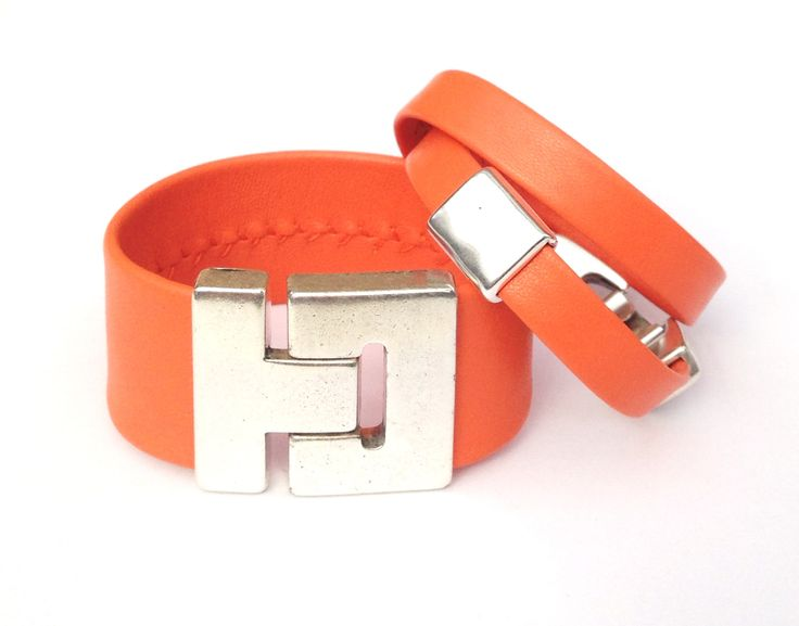 Bright spring orange cuff and wrap bracelets. Both with magnetic Zamak clasps. Cuff 3 cm wide and wrap 1cm wide.