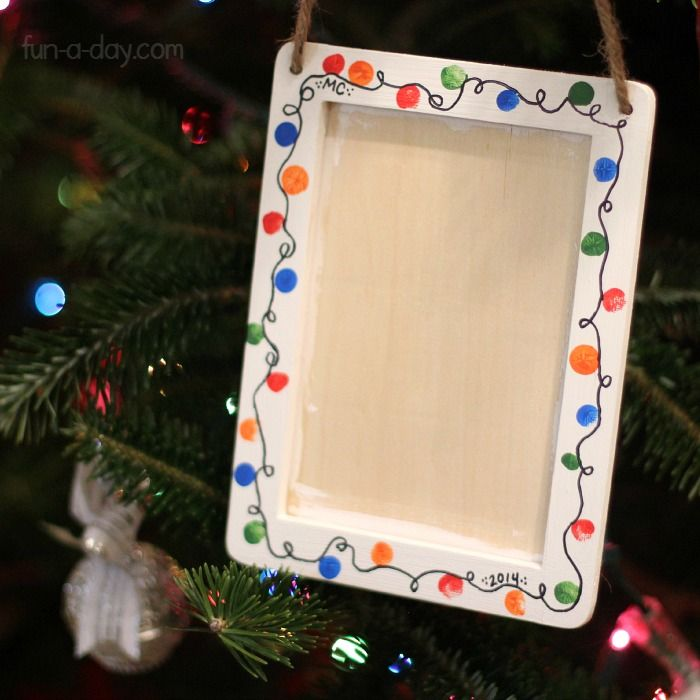 A fingerprint picture frame is one of the Christmas gifts for kids to make their families