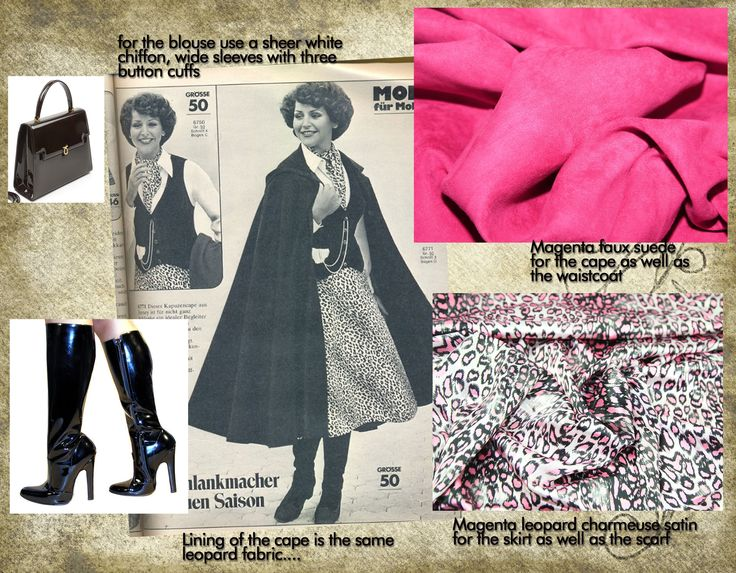 Magenta faux suede cape with matching waistcoat skirt and blouse...