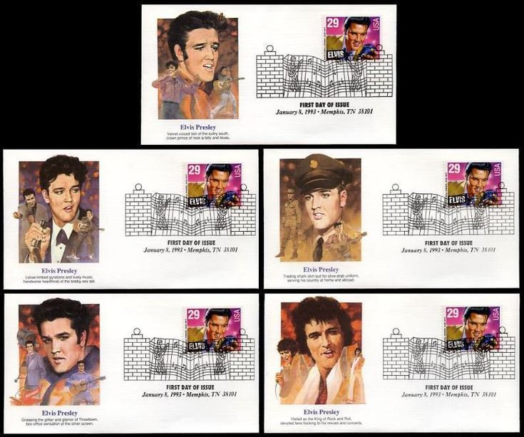 Set of 5 Elvis Through the Years. From Youth to Death. These First Day Cover has the Official First Day of Issue Graceland Gate Postmark dated January 8, 1993 Have description of the stamp subject printed on the back. ARE IN MINT, UNADDRESSED CONDITION