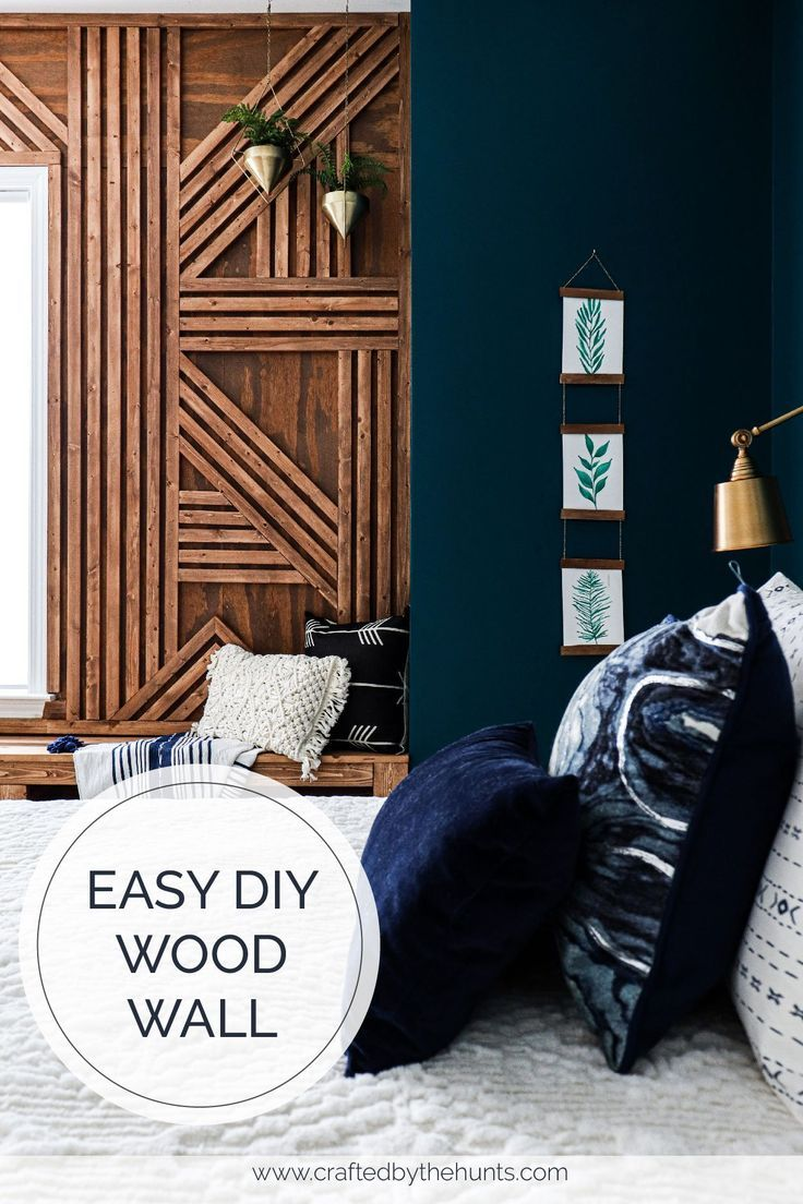 Make This Easy Diy Wood Wall With This Step By Step Tutorial A Wooden Feature Wall Is Great For Your B In 2020 Feature Wall Bedroom Wood Accent Wall Wood Feature Wall