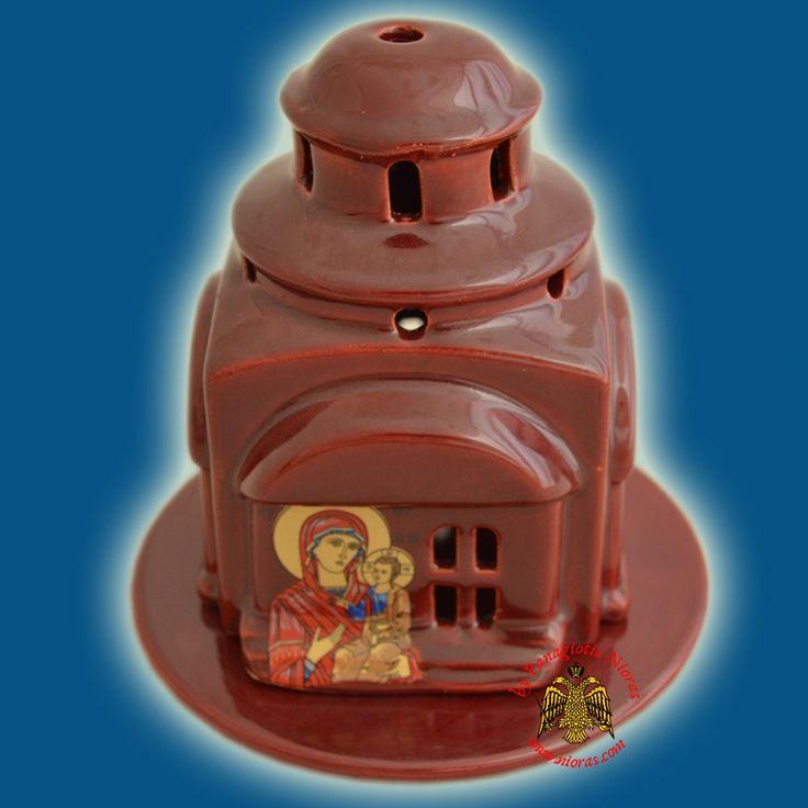 Kεραμικό Κανδήλι Εκκλησάκι Σχέδιο με Βάση Μπορντό